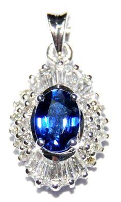 18K White Gold Blue Sapphire Diamond Solitaire Pendant [P0139] BKGjewelry http://www.amazon.com/dp/B00CJUWVS8/ref=cm_sw_r_pi_dp_LcWkwb0NQZHRS