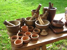 Used for grinding medicinal herbs     Cures in the garden