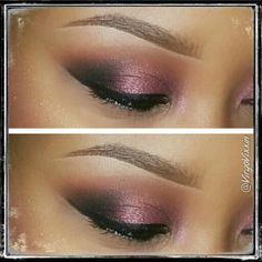 Brown script, carbon, and cranberry on eyes (MAC)