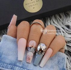 22 Matte French Ombre, Blue-Grey & Crystals on Long Coffin Nails – Long Nails – Long Nail Art Designs Dope Nails, Glam Nails, Fun Nails, Matte Nails, Glitter Nails, Best Nails, Gradient Nails, Holographic Nails, Silver Glitter