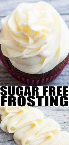 FREE FROSTING RECIPE- Quick, easy, best sugar free vanilla buttercream icing homemade with simple ingredients. Uses sugar free powdered sugar and cream cheese to make it rich, fluffy, creamy. Chocolate flavor variation also available. Sugar Free Cupcakes, Sugar Free Frosting, Sugar Free Deserts, Healthy Frosting, Sugar Free Treats, Sugar Free Recipes, Cupcake Recipes, Dessert Recipes, Icing Frosting