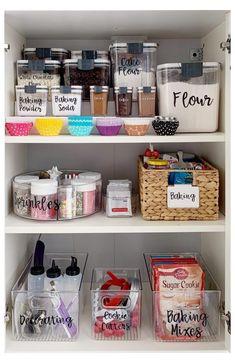 Baking Storage, Baking Organization, Kitchen Cupboard Organization, Kitchen Organization Pantry, Organisation Hacks, Recipe Organization, Diy Kitchen Cabinets, Kitchen Storage, Organized Pantry