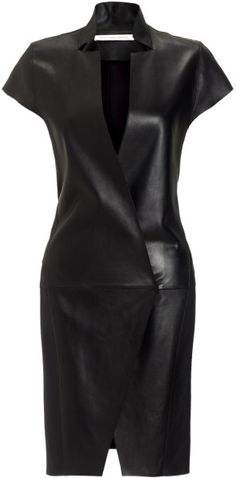 I would feel like Cat Woman in this dress for some reason but would love it!   Felipe Oliviera Baptista Black Black Right Leather Mini Dress Leather Mini Dress, Black Leather Dresses, Leather Outfits, Dress Black, Dress Skirt, Slit Dress, Wrap Dress, Sheath Dress, Lambskin Leather
