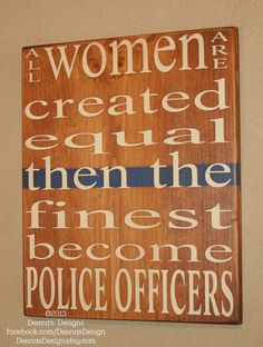 Female Police Officer Wall Art w/ Thin Blue Line by Deena' sDesign - https://www.etsy.com/shop/DeenasDesign - $38.00