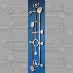 MOD Dots Skinny Floating Wall Art in 11 X 46 Textured Aluminum
