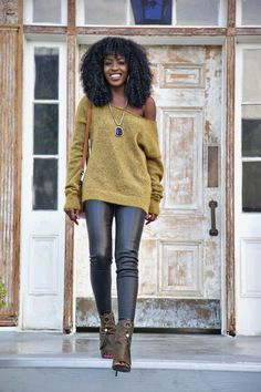 DIY Off Shoulder Sweater + Leather Pants | Style Pantry