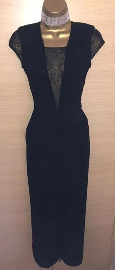 759720ddb5a Exquisite Karen Millen Black Gold Lace Panel Jumpsuit UK8 Stunning  fashion   clothing  shoes
