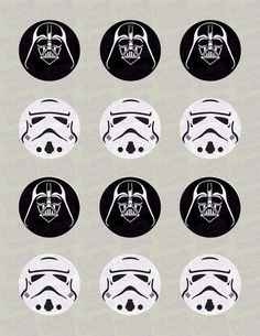 Star Wars Darth Vader and/or Storm Trooper Helmet Inspired Edible Icing Cupcake Decor Toppers in your choice of assortment