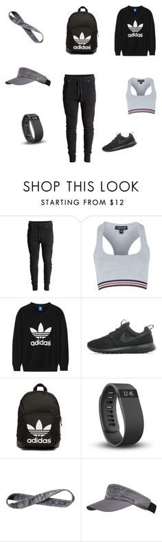 """Untitled #103"" by dr-azzko ❤ liked on Polyvore featuring H&M, Topshop, adidas Originals, NIKE, Fitbit, Athleta and Merrell"