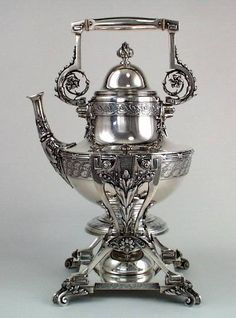 Tiffany and Co early aesthetic period hot water kettle-on-stand, Part of a complete service -Edward C Moore, Union Square mark, c1870-75 (spencermarks)