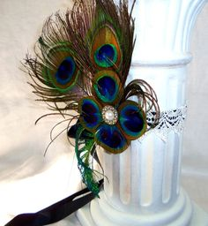 Peacock Feather Mardi Gras Great Gatsby, 1920's theme wedding hair accessory via Etsy: by 3Mimis