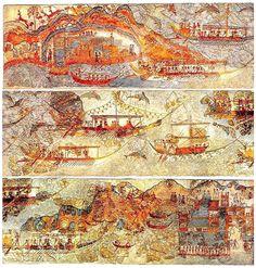 "Miniature Frieze ""Flotilla"" Fresco   Late Bronze Age (LBA), Late Minoan I Period   The West House, Room 5, South Wall   3.90 x 0.43 meters   Akrotiri, Santorini (Thera), Greece."