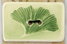 Gingko Leaf Button  Ceramic Watercolor by imrtforannemarie on Etsy, $12.00