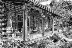Pencil Drawings of Log Cabins | Cabin On The Hill Photograph