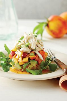 Fresh Peach Recipes: Crab Salad with Peaches and Avocados