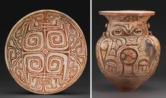 Plate and Funerary Urn.  Marajo Culture, Marajo Island, Brazil.  AD 400-1300.