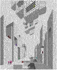 Vito Acconci, City of Words, 1999  I wonder if I could get 14 year olds to do something like this! architectural/recognize change of values, cut and collage. hmmm