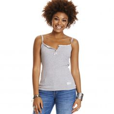 drop needle tank top LIGHT GREY MELANGE