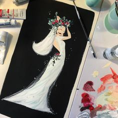 """""""I love the holiday season sooo much! Painted with gouache on cold press watercolor paper."""" Liana Hee"""