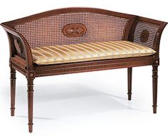 English style beech wood bench with cane back, arms and seat. Bench has a hand carved accents, antique white finish. This bench is hand-crafted in Italy Furniture Care, Custom Made Furniture, Classic Furniture, Accent Furniture, Dining Bench With Back, Upholstered Dining Bench, Traditional Benches, Reproduction Furniture, Antique Furniture