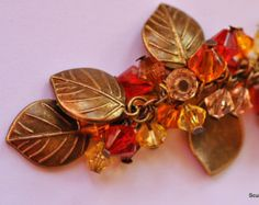 Bronze Leaf and bead bag/belt charm/ Keyring