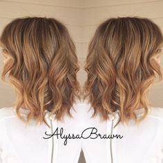 Shoulder length curly hair balayage brunette caramel for 3 brunettes and a blonde salon