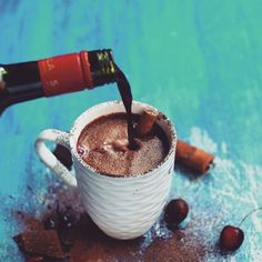 Hot chocolate and red wine!!