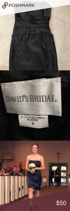 David's bridal bridesmaid black strapless dress Black strapless dress. Worn once. Great condition. HAS POCKETS!!! david's bridal Dresses
