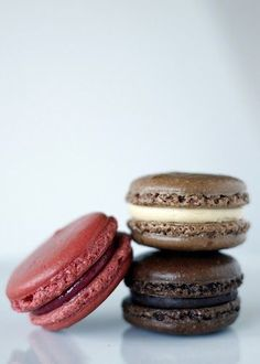 Raspberry, Chocolate and Salted Peanut Butter, and Chocolate and Bittersweet Chocolate Ganache Macarons