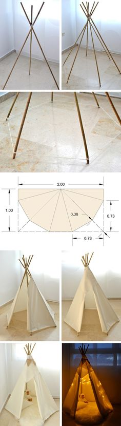 DIY Indian tipi for kids - Tipi indio para nios (Diy Baby Hammock) : homemade tipi tent - memphite.com