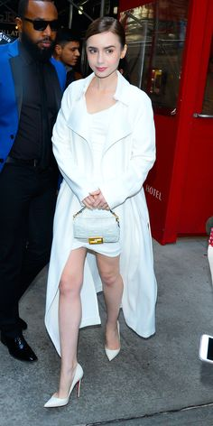 During an appearance on The Today Show, Lily Collins wore a white Ronny Kobo dress with a matching Kendall and Kylie jacket. Celebrity Outfits, Celebrity Style, Star Fashion, Girl Fashion, Game Of Thrones Premiere, Tom Ford Suit, Lily Collins Style, Paris Outfits, Iconic Dresses