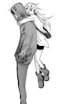 Satsuriku no tenshi Couple Anime Manga, Couple Amour Anime, Anime Love Couple, Cute Anime Couples, Anime Guys, Anime Couples Hugging, Anime Angel, Ange Anime, Anime Amor