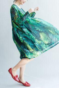 2017 Green Palm Leaves Long Sleeve Chiffon Dresses Maxi Dresses Oversize Q2801