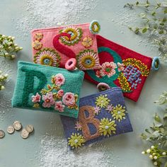 [Picked from SUNDANCE]Love Letter Pouches: With hand-embroidered letters and floral accents, our clever, felted wool 'Love Letter' pouches make a heartwarming gift. Embroidery Bags, Embroidery Designs, Embroidered Gifts, Wool Applique, Punch Needle, Rug Hooking, Handmade Bags, Felt Crafts, Needle Felting