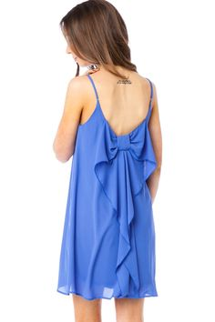 ShopSosie Style : Coletta Bow Strap Dress in Bumble Blue
