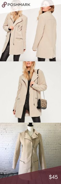 """Long Moto Style Taupe Jacket Cool and edgy moto jacket coat in a nice neutral taupe color. Size 0. Brand New with tags. Polyester, Viscose and Elastane. Approx 30"""" long. Missguided Jackets & Coats"""