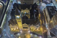 Aerial view of old city hall Old City, Aerial View, Toronto, Canada, Mansions, History, House Styles, Travel, Live