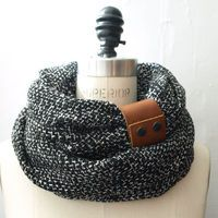 Ultra Chunky  Black circular infinity scarf with camel leather cuff