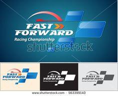 Vector abstract, Fast forward racing championship logo or symbol