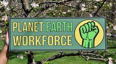 Planet Earth Workforce Green Wood Sign Framed Folk Art Vintage Antique Look Fist  | eBay