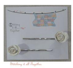 Set of Two Rosebud Flower Hair Bobby Pins by stitchingitalltogether