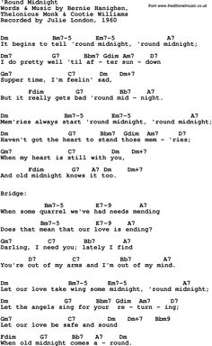 Rock and pop song lyrics with chords for 'Round Midnight - Julie London, 1960 Ukulele Songs, Music Guitar, Guitar Chords, Playing Guitar, Pop Song Lyrics, Lyrics And Chords, Jazz Songs, Pop Songs, Julie London