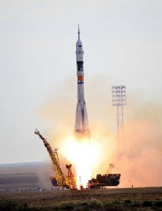 The Soyuz spacecraft is launched to the Space Station from the Baikonur Cosmodrome in Kazakhstan aboard a Soyuz rocket.