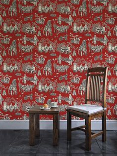 Greengate Toile - Crimson Cake This wallpaper captures the buzz of contemporary Stafford.