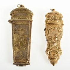 Antique etui, a small, ornamental bag or rigid container used for holding articles such as needles, thimble, tweezers.