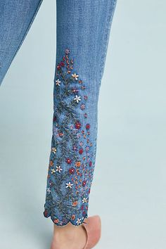 Shop the Driftwood Candace Mid-Rise Embroidered Ankle Jeans and more Anthropologie Floral Fashion, Diy Fashion, Ideias Fashion, Fashion Hacks, Lolita Fashion, Fashion Fashion, Fashion Dresses, Hand Embroidery, Embroidery Designs