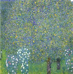 klimt   Rose 1904    Rose    Measures: 110 x 110 cm  Technique: Oil on canvas  Depository: Mussée d'Orsay, Paris    Accomplished 1904 in Litzlberg on Lake Attersee Klimt uses the large format of 110 x110 cm for this landscape painting. Remarkable is the use of bright colour on an almost monochrome raster of green.