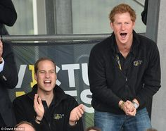He's done it! An ecstatic Prince Harry leaps out of his seat with excitement as the Duke o...