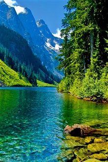 Природа пейзаж, горы, река, деревья, скалы iPhone Обои   Обои просмотра   Бесплатные обои для iPhone 6, iPhone 5, iPhone 4, iPhone 3GS - RU.iWALL365.com