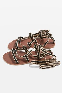 Dress your feet in these flattering ribbon tie sandals. In beautiful black and gold braided ribbon, make sure this flat style is the first thing you pack for your next holiday. Ribbon Sandals, Strappy Sandals, Leather Sandals, Topshop, Textiles, Walk In My Shoes, All About Shoes, Lace Up Heels, Miller Sandal